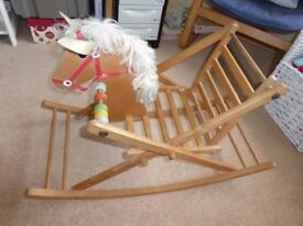 Wooden sit in rocking horse