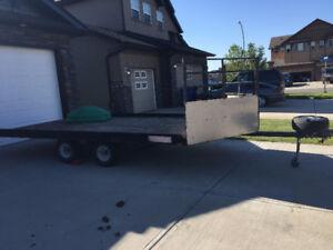 16 foot v-nose flat deck sled/atv tandem trailer