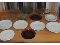 Selection of crockery and glass plates