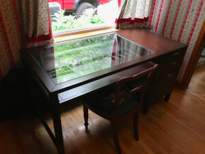 Attica Glass Top Desk With Drawers Wood Solid Clean Dark Office