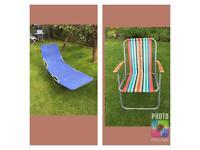 Vintage Retro Garden Sun Lounger + Deck Chair