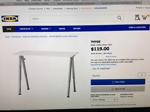 IKEA THYGE Adjustable Desk (White - Excellent Condition)