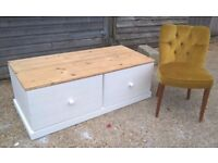 Large Pine Ottoman Trunk Farrow & Ball White Chest of Drawers Blanket Box Toy Storage*FREE DELIVERY*