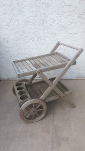 "ROYAL TEAK TRAY CART ON WHEELS (L 35""x W 23.5"" x H 33"")"