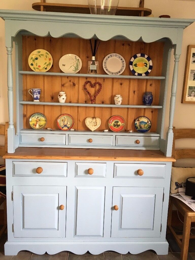 Solid Pine Painted Dresserin Newark, NottinghamshireGumtree - Lovely solid pine hand painted dresser. Painted in a soft blue. In very good condition. The dresser comes in 2 pieces. Measurements are (full) height 193cm, width 140cm and depth 45cm. Buyer will need to collect