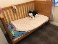 Oak Cot Bed and Waterproof Mattress