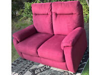 2 Seater Red Fabric Material Sofa.