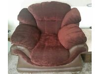 Dark brown chenille and leather armchair