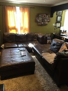 Brown leather couch with Ottoman