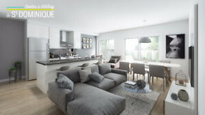 VILLERAY CONDO NEUF 1208PC -2CH - cour arriere -449000$