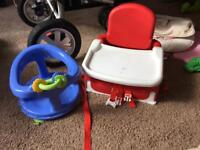 Baby bath seat and feeding seat