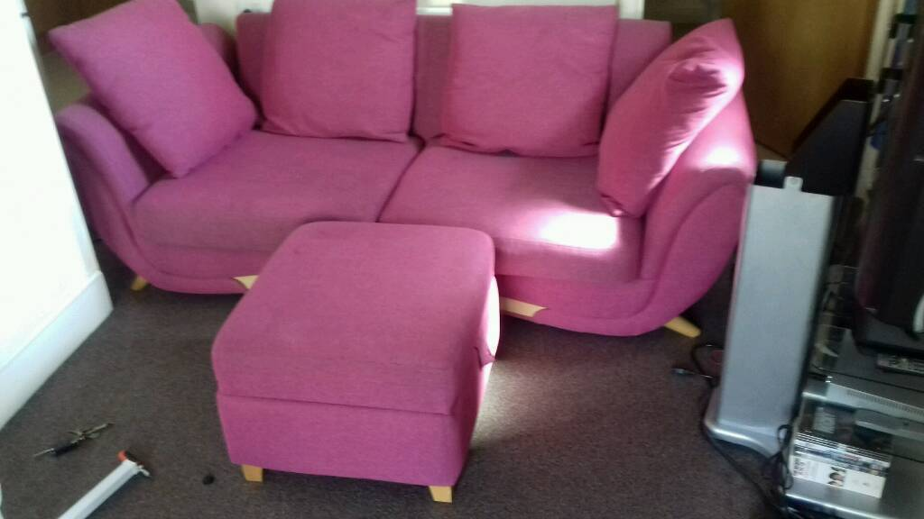 3 seater sofa with pouffe