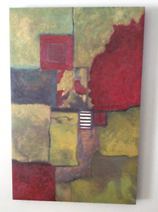 2 abstract acrylic paintings