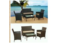 RATTAN GARDEN FURNITURE SET 4 PIECE CHAIRS SOFA TABLE OUTDOOR PATIO SET - MONSTER DEAL TO CLESR £105