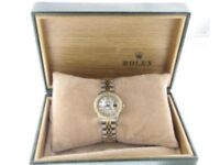 ROLEX LADIES DATEJUST WATCH STEEL & GOLD DIAMOND WATCH AUTOMATIC BOX AND PAPERS