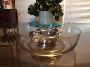Glass Serving Bowl with Built in Sauce Holder
