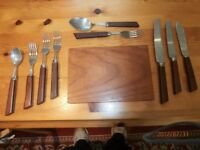 6 placing Wooden Handled Cutlery - 60 pieces in total + 10 table mats