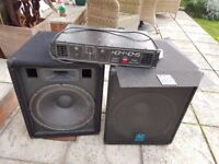15 Inch PA DJ disco speakers and amplifier