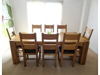 SOLID OAK FURNITURE LARGE DINING TABLE & 8 CHAIRS