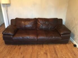 Brown 2 & 3 Seater Italian Leather Sofa