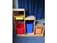 Ikea Trofast - pine toy storage unit with 4 boxes