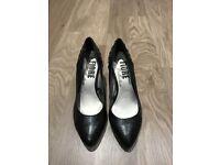 """Flore Collection"" Black Medium Heel Shoes, Size 5"