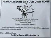 Piano lessons in your own home
