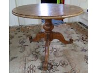 A round pine dining room table solid pine on pedestal base