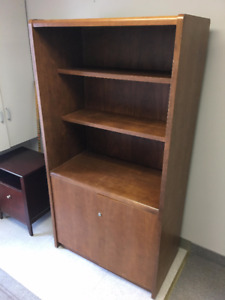 Bookshelf with storage and small credenza