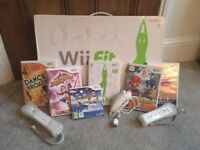 Boxed Wii Fit board with Wii Fit game, 3x controllers and 5 other games