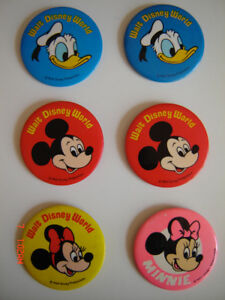 Vintage Mickey Mouse Pin Button Badges - Walt Disney World