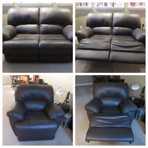 Reclining Faux Leather Loveseat & Chair Set $525 obo