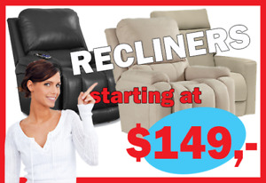 INCREDIBLE RECLINERS   FLOOR MODELS  ONLY FOR $249