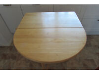 Kitchen Folding Beech Hardwood Table 710 x 755mm with casters and towel rail
