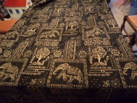 Quality Luxury Designer Curtain & Upholstery Fabric - Reversible GOLD & BLACK Elephants Pattern