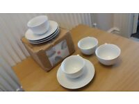 Argos Home White Porcelain Tea Cups & Saucers. NEW. Boxed. Unwanted gift. 220ml Cups, 15.5cm Saucers