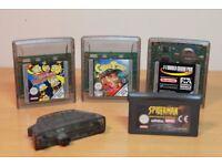 4 Retro Nintendo Gameboy Color Games Simpsons CyberTiger F1 Spiderman