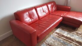 DFS red leather corner 4 seater sofa in very good condition