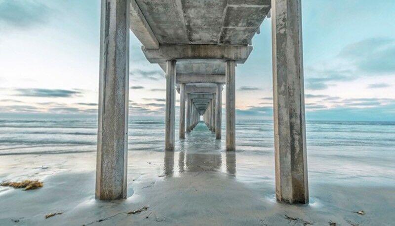 Distant pier canvas art