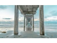 Distant pier canvas art