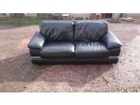 3-seater black leather couch - can deliver