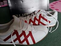 Velocity white and red stripe trainers