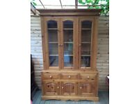 Pine 3 door display cabinet