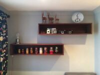 Pair of box shelves - matching sideboard also listed