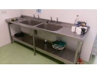 DOUBLE SINK BOWL DRAINER STAINLESS STEEL CATERING CAFE RESTAURANT