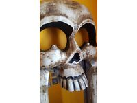 Impressive carved wood skull mirror full length. Beautifully hand crafted & unique.
