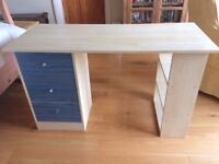 Child's desk beech, wood-effect, with drawers & bookshelves
