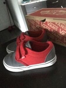 Red and Grey Vans Shoes for toddler