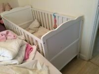 White used baby cot for sale