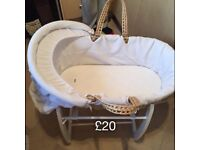 Mamas & papas Moses basket with white claire de lune blanket cover